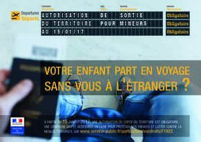 Autorisation de sortie du territoire pour les mineurs à compter du 15 janvier 2017